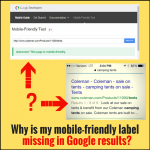 Mobile-friendly label missing from Google results