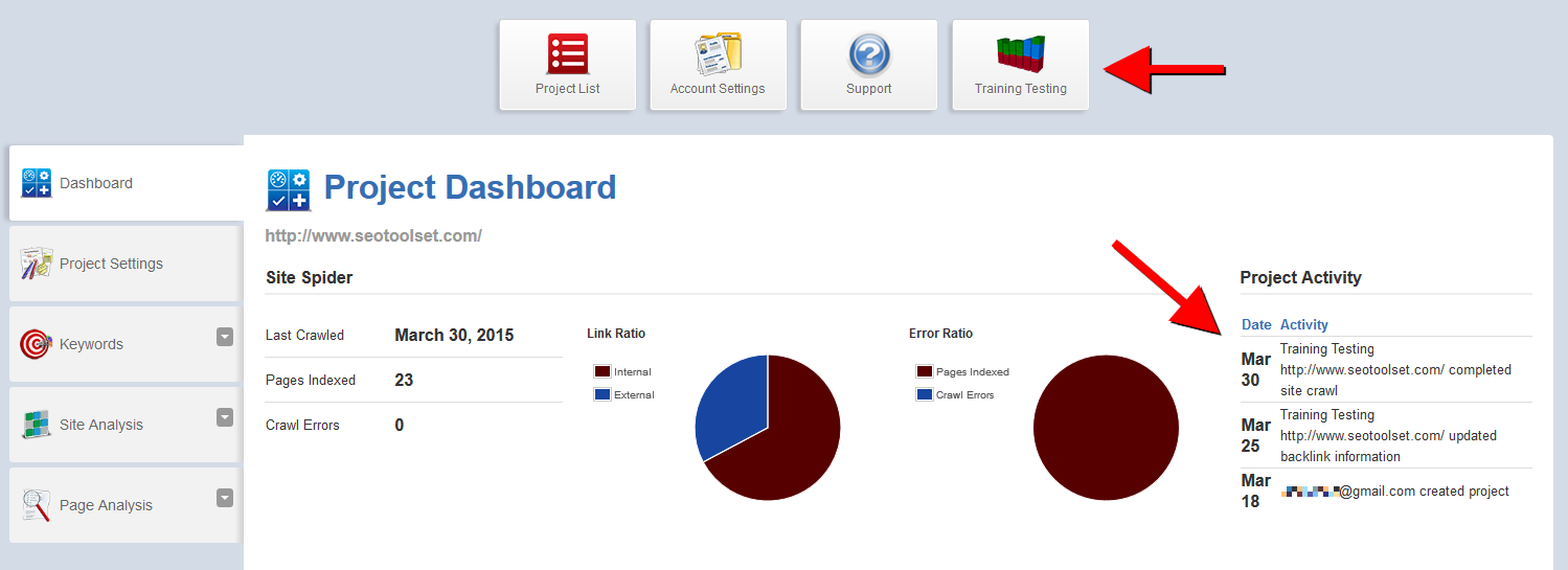 SEOToolSet Lite project dashboard