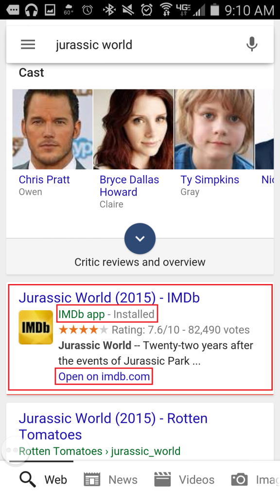 Jurassic World mobile search