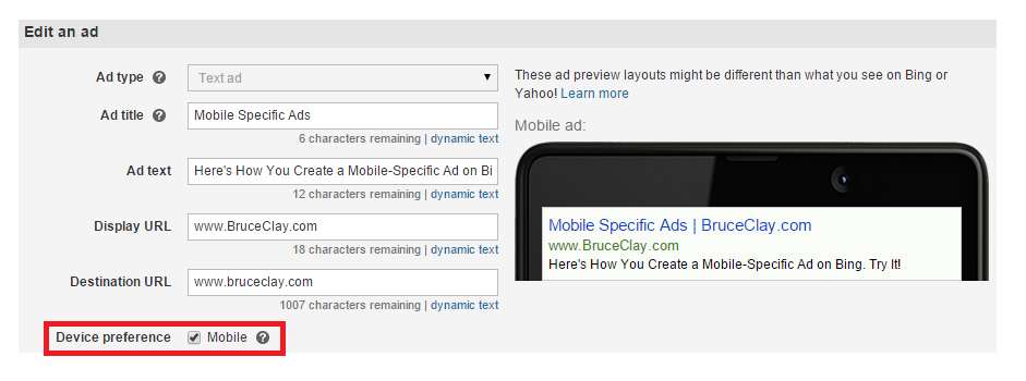 Mobile Specific Ad- Bing
