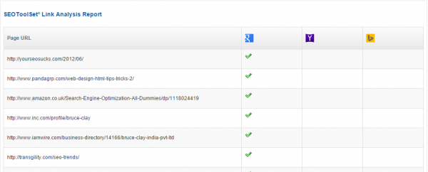 Link Analysis Report free SEO tool