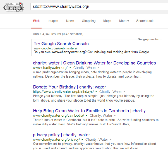 Pages Indexed in Google