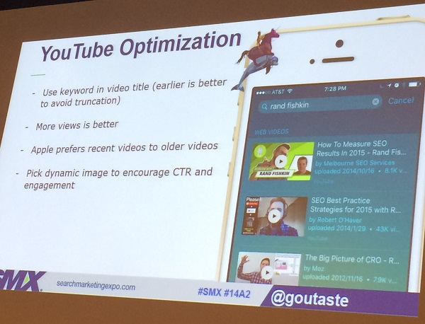 YouTube Optimization tips SMX East
