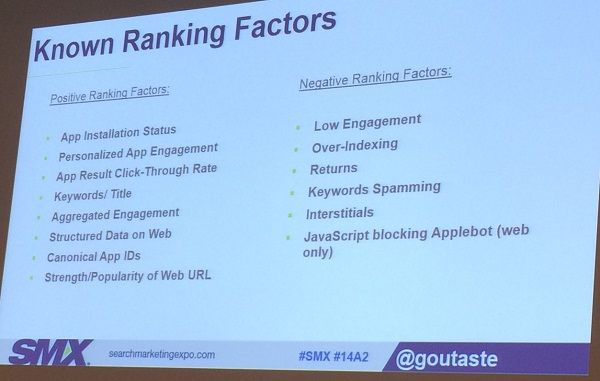 Known ranking factors SMX East