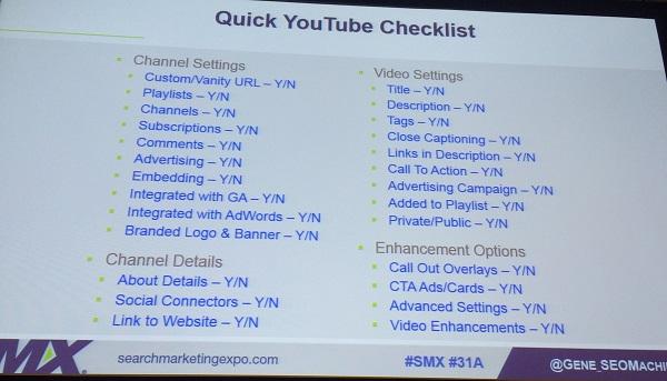 quick youtube checklist