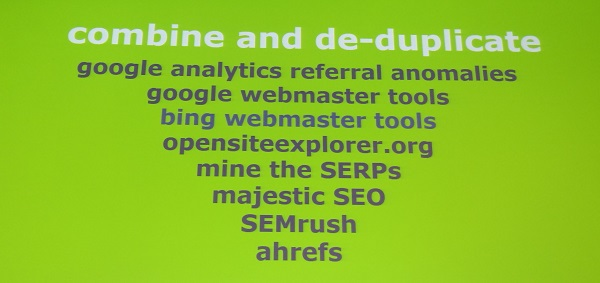 combine and de-dupe your backlink inventory