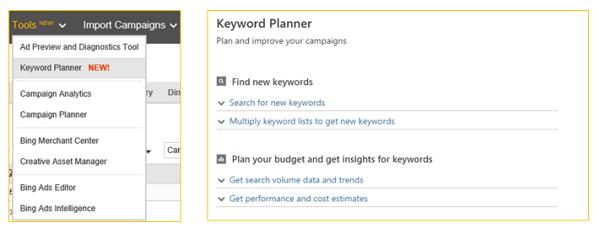 Bing Ads new Keyword Planner
