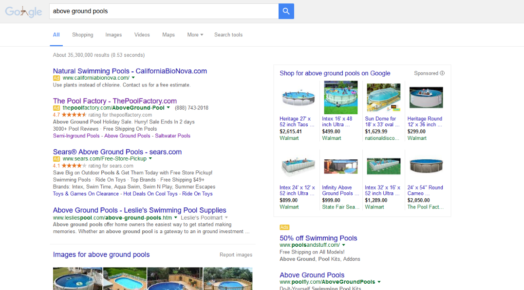 Google Removing Right Side Ads - above ground pools serp