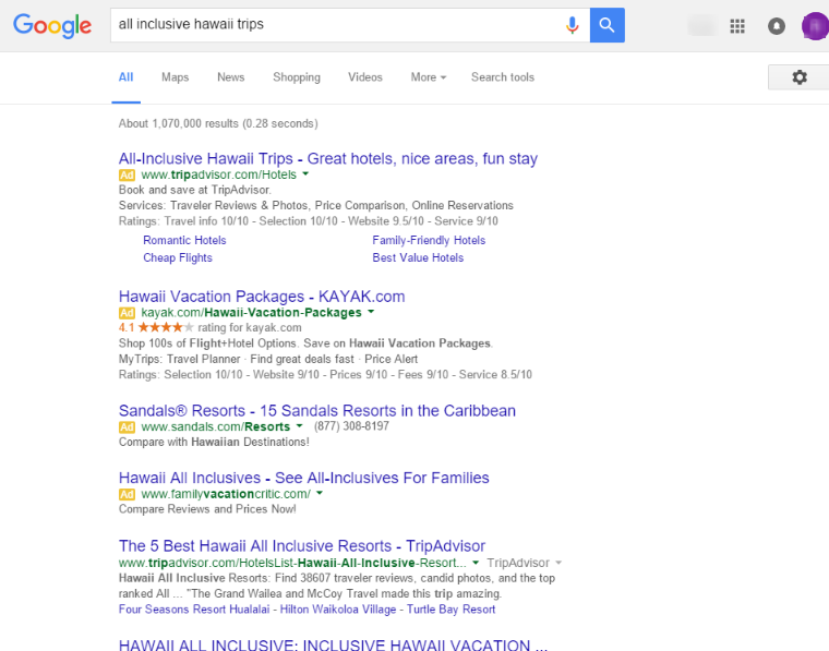 Google Removing Right Side Ads - all inclusive hawaii trip serp 2