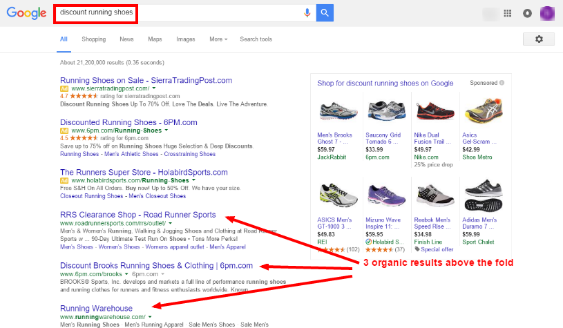Google Removing Right Side Ads - discount running shoes serp