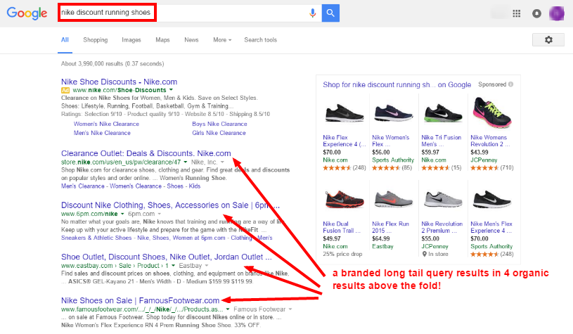 Google Removing Right Side Ads - nike discount running shoes serp