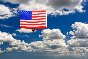 American flag in the sky