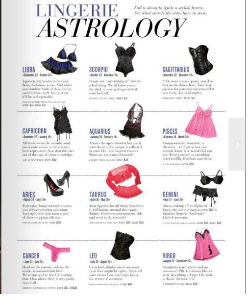 Lingerie Astrology in Clothing Catalogue