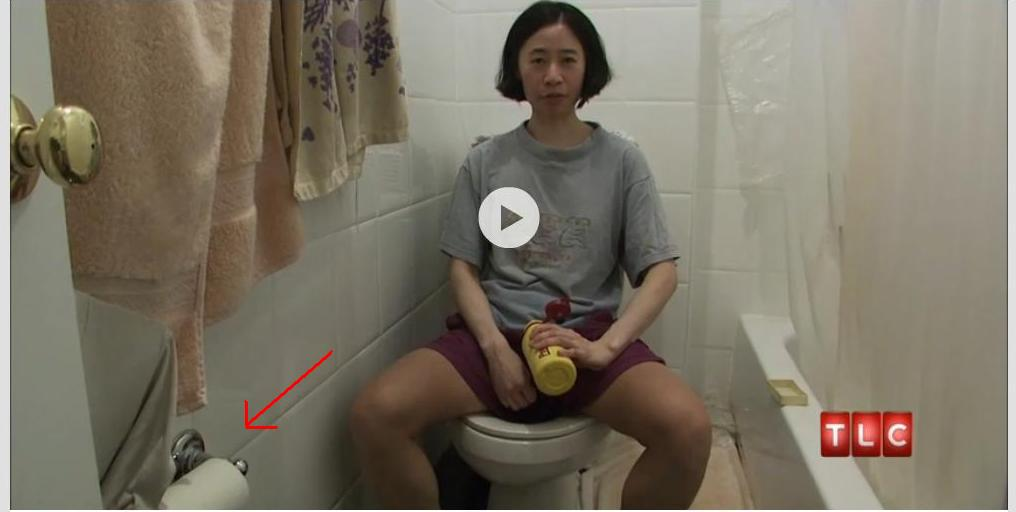 Woman on Toilet Shows How She Doesn't Use Toilet Paper