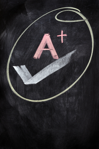 Letter Grade Drawn on a Chalkboard