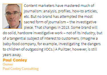 Paul Conley Prediction for Content Marketing in 2013