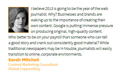 Sarah Mitchell Prediction for Content Marketing in 2013
