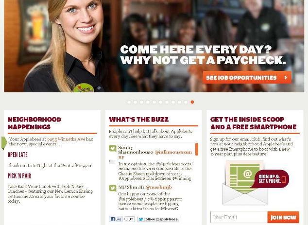 applebees.com home page