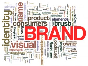 "Word cloud centered around ""brand"""