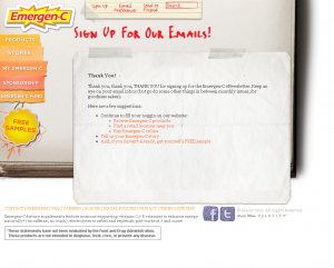 Emergen-C Thank You Page Example