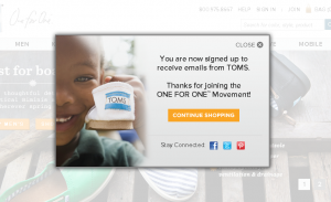 Toms shoes Thank You Page lightbox