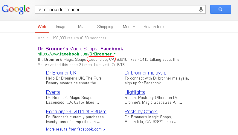 Google search listing showing entry for Dr Bronners soap Facebook Page.