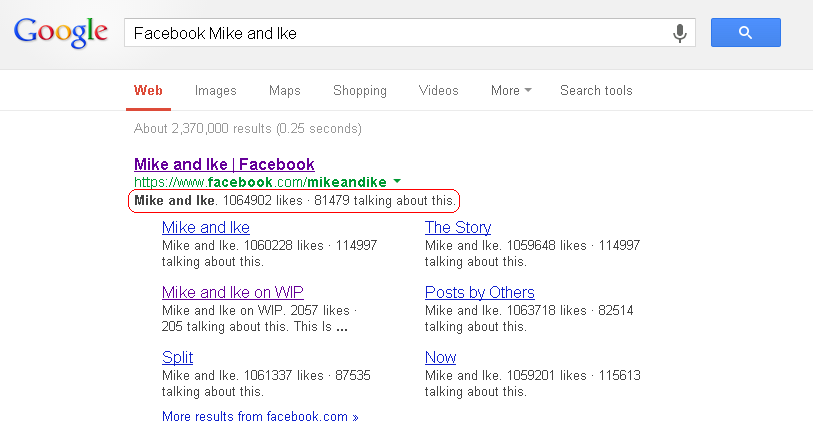 Google search listing showing entry for Mike and Ike candy Facebook Page.