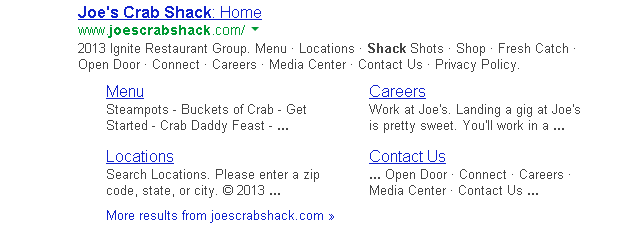 Google search listing showing entry for Joes Crab Shack website.