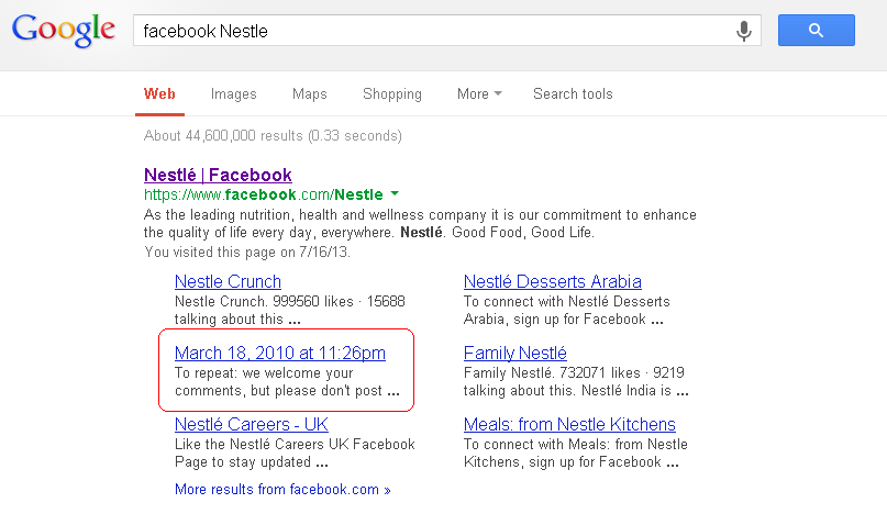 Google search listing showing entry for Nestle Facebook Page with clustered Facebook post highlighted