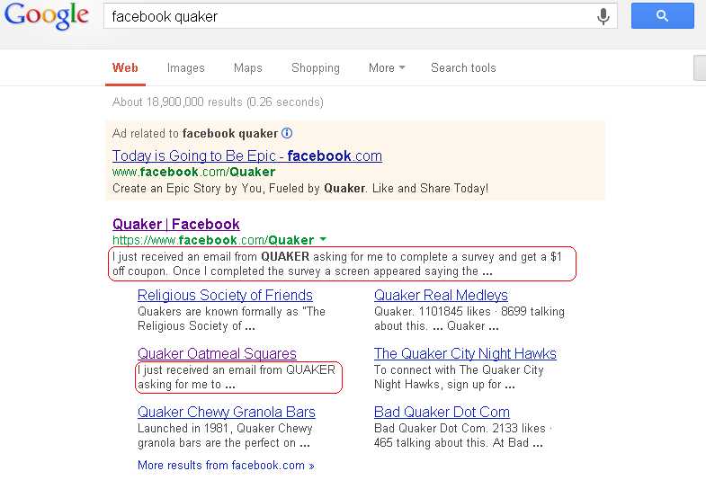 Google search listing showing entry for Quaker Facebook Page.