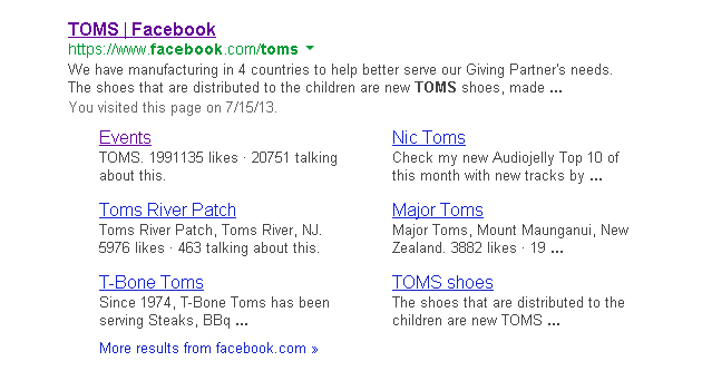 Google search listing showing entry for TOMS shoes Facebook Page.
