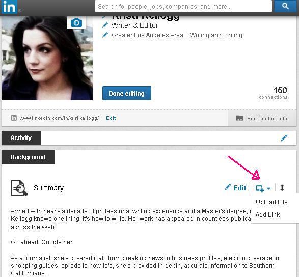 Screenshot of Kristi Kellogg's LinkedIn Page