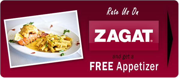 In this example, Disalvo's Trattoria offers a free appetizer in exchange for a Zagat review.
