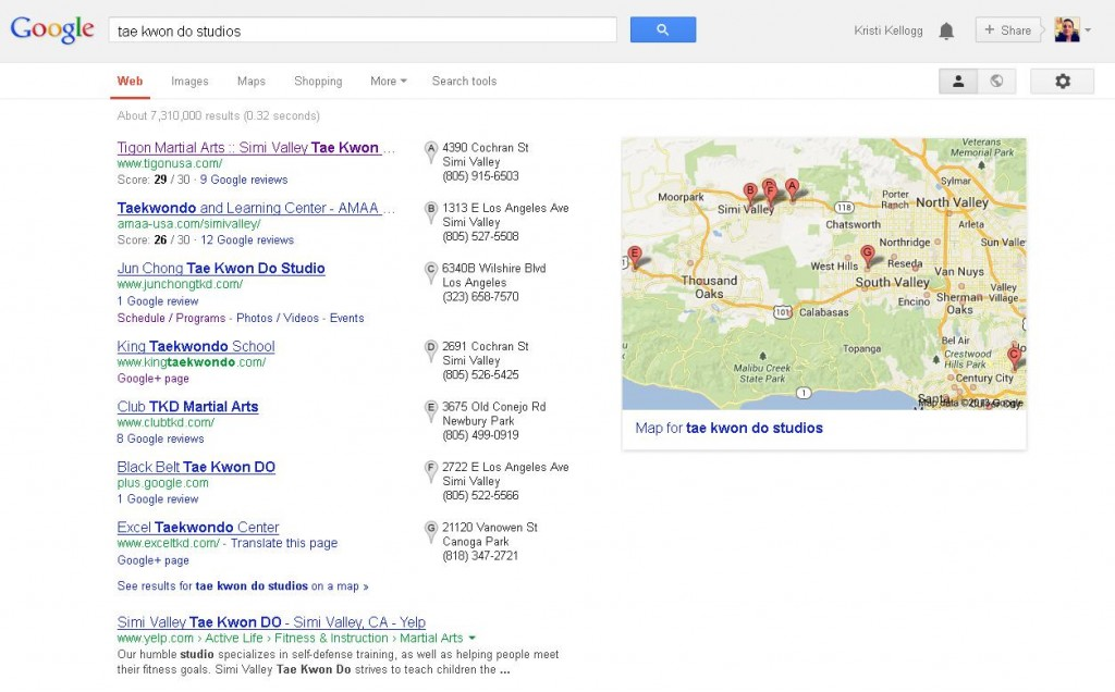 Google Local Business Listings Screenshot