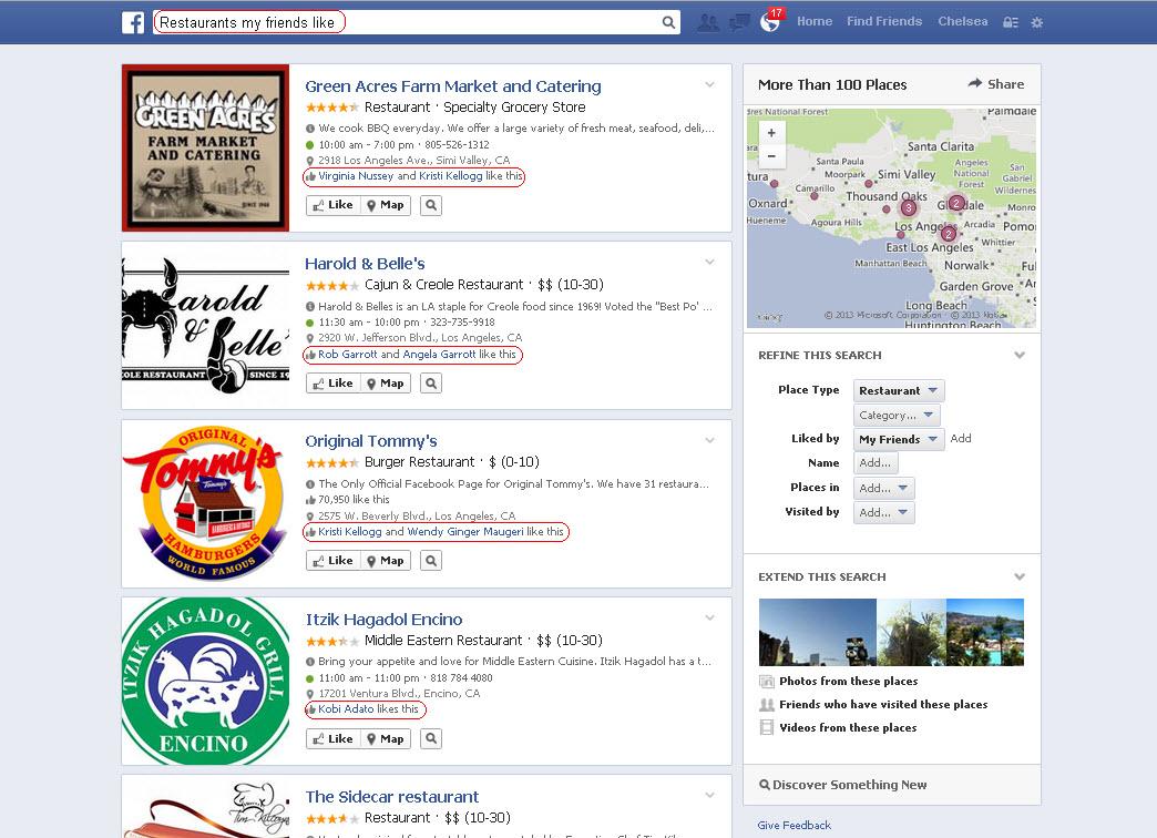 A Facebook Open Graph search example