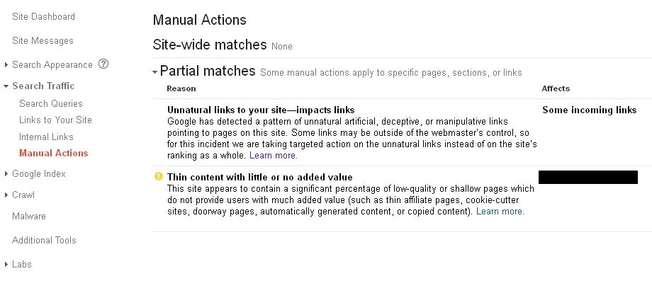 Google Webmaster Tools manual actions report