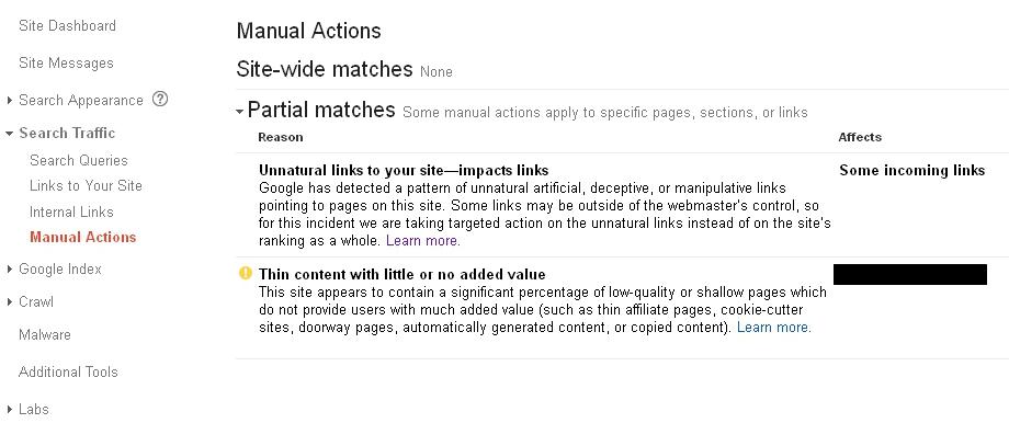 Google Webmaster Tools manual actions report