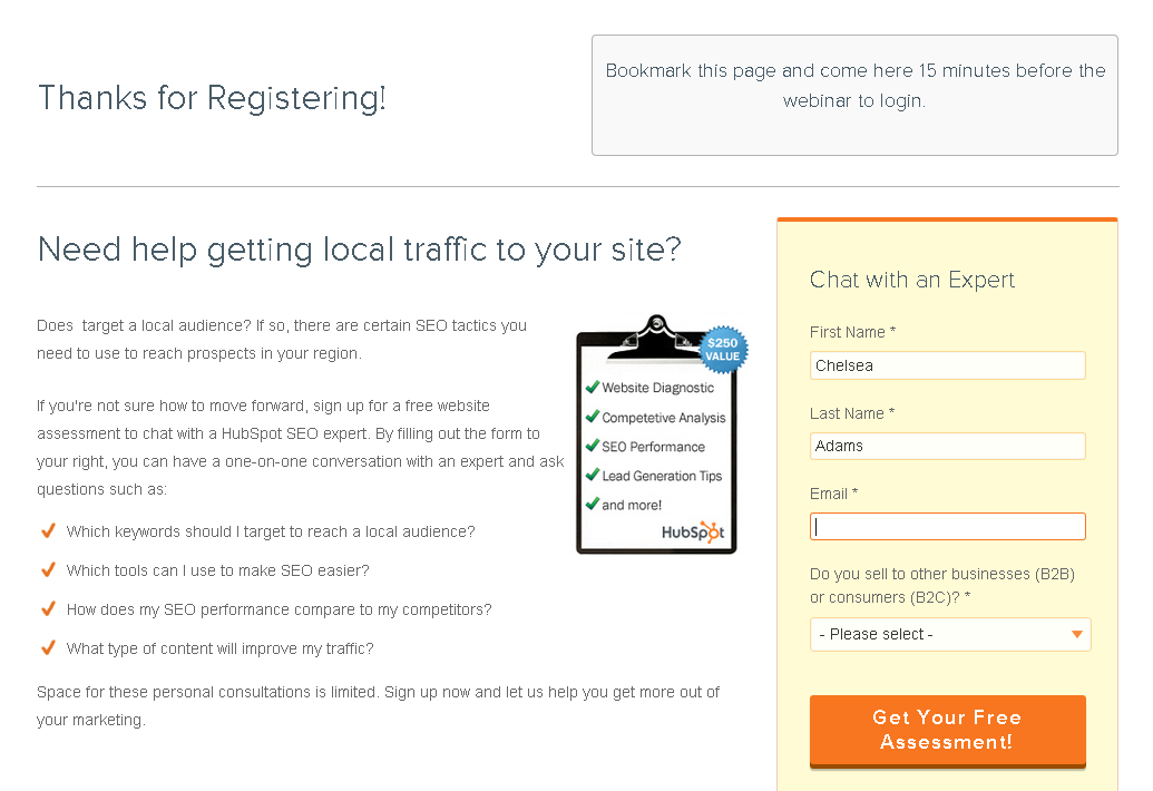 Hubspot webinar registration thank you page example