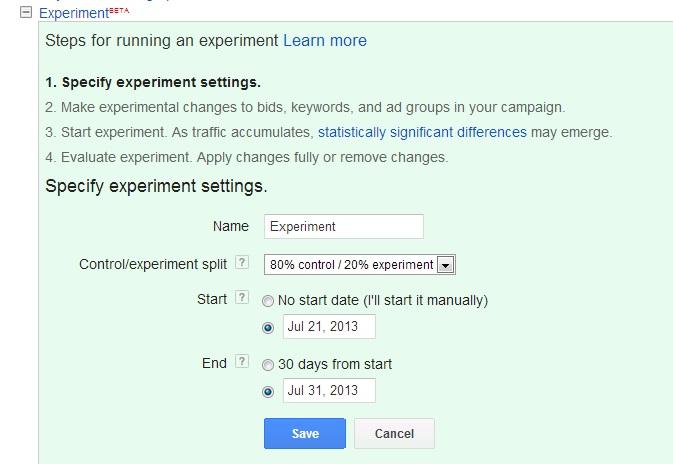 Screenshot of Adwords Campaign Experiments
