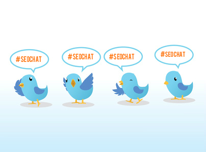 "Four Twitter Birds with signs reading ""#SEOchat"""