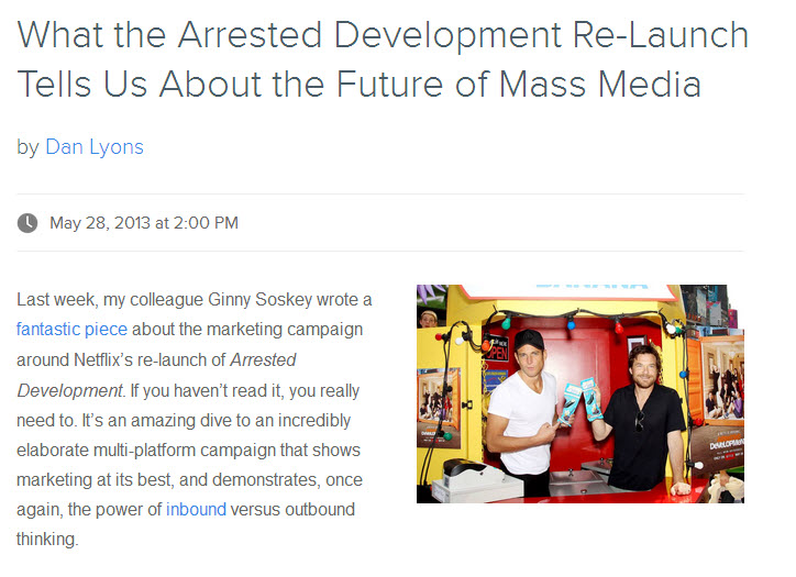 Screenshot of the Hubspot blog showing an article they spun off of the show Arrested Development