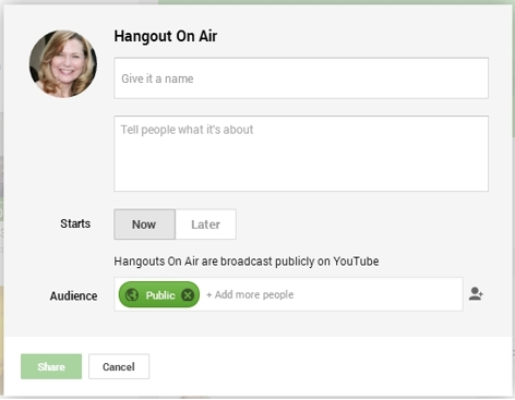 Hangout On Air form