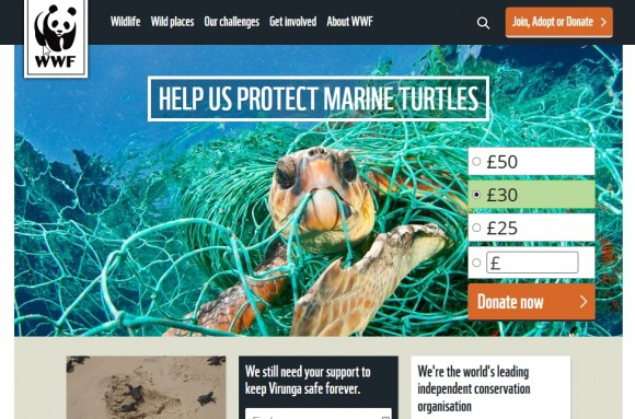 WWF UK desktop home page