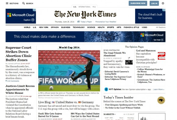 NYTimes desktop home page