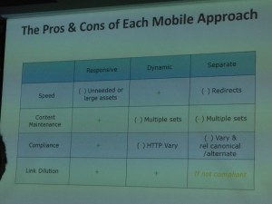 smx slide on mobile search approach pros and cons