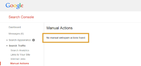 Manual Actions in Google Search Console