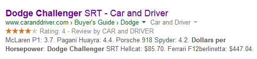 google structured snippet serp for dodge challenger