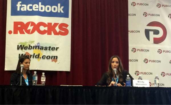 Lindsay Mineo and Mindy Weinstein answer questions at Pubcon Las Vegas