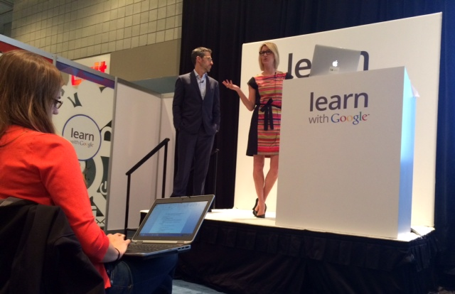 Justin Huskamp and Rachel Klooz in the Learn with Google classroom at SMX East