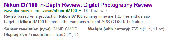 structured snippet in google serp for nikon d7100